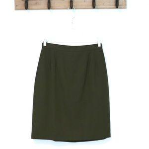 Vintage Land's End wool skirt olive green a-line